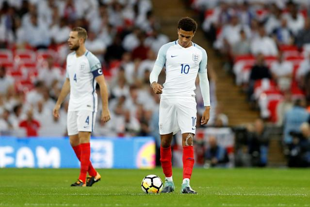 <p>Soccer Football – 2018 World Cup Qualifications – Europe – England vs Slovakia – London, Britain – September 4, 2017 England's Dele Alli and Jordan Henderson look dejected after Slovakia's Stanislav Lobotka scores their first goal Action Images via Reuters/Carl Recine </p>