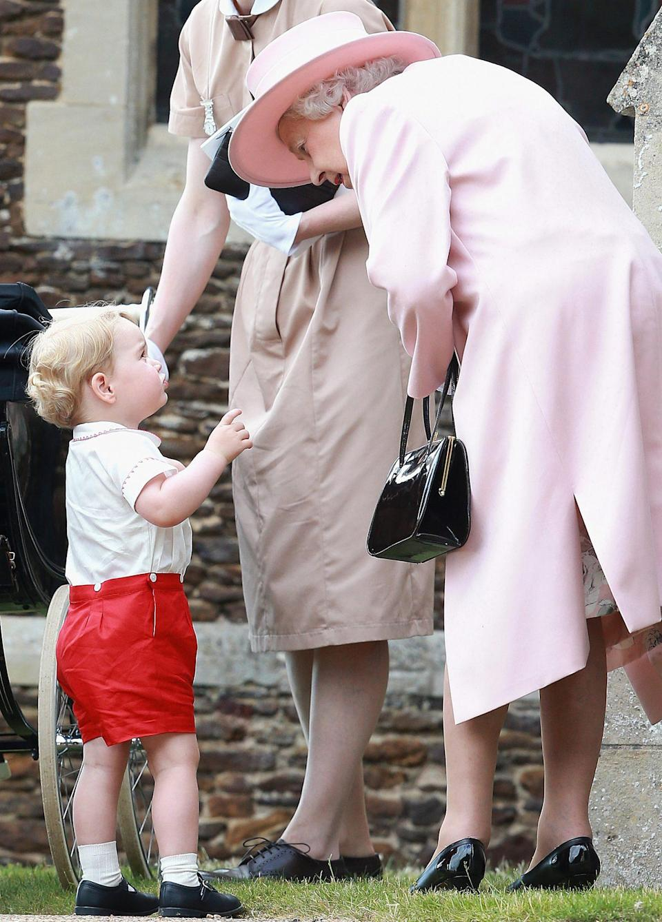 """<p>Back in July 2015, the Queen snuck in some time for a private chat with Prince George, then 2, at the christening of his sister Princess Charlotte on the royals' Sandringham estate.</p> <p>While Jackson never found out what the monarch and her heir's conversation was about, he notes that the Queen """"has an incredible warmth and affection for her grandchildren and great grandchildren, evident by the way she lights up when she is around them. For a photographer, the opportunity to capture these genuine and warm interactions is always so special.""""</p>"""