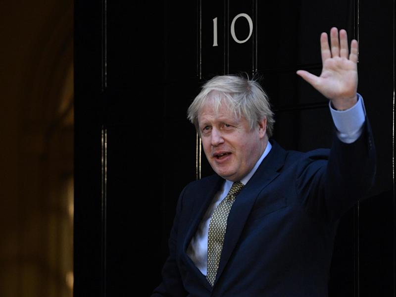 Boris Johnson delivers a speech at 10 Downing Street after winning the 2019 general election: Neil Hall/EPA