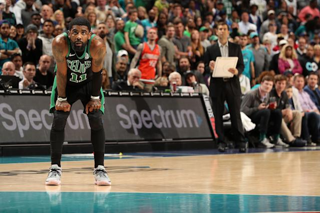 Kyrie Irving wasn't happy with Brad Stevens' choices after the Celtics blew an 18-point lead and lost to the Hornets. (Photo by Kent Smith/NBAE via Getty Images)