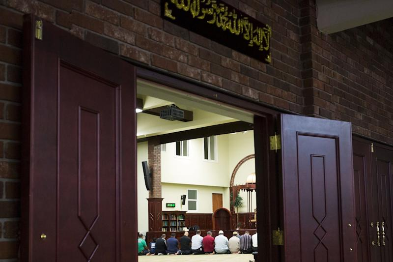 Prayers at the Islamic Center of Passaic County in Paterson, New Jersey, in 2015. The mosque has received threatening voicemails since the bike path attack in lower Manhattan.