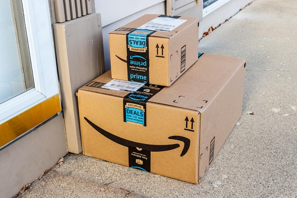 Amazon Prime packages waiting to be collected on a customer's doorstep (Photo: Getty)