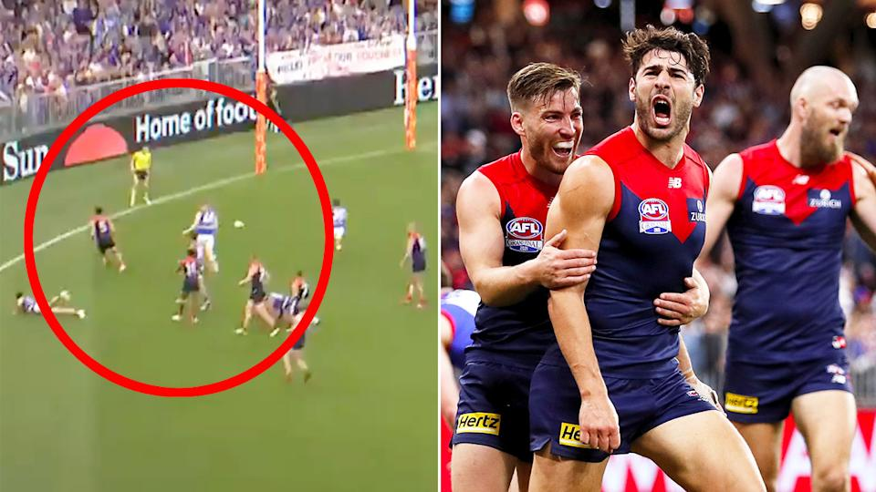 Seen here, Christian Petracca celebrates a goal for Melbourne in the 2021 AFL grand final.