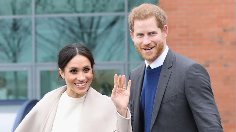 Mandatory Credit: Photo by REX/Shutterstock (9474653aq)Meghan Markle and Prince Harry depart Catalyst Inc, Northern Ireland's next generation science parkPrince Harry and Meghan Markle visit to Belfast, Northern Ireland, UK - 23 Mar 2018.