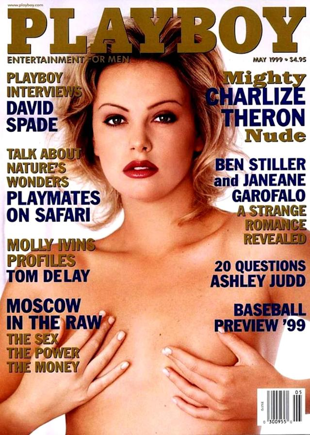 <p>Charlize wasn't happy with her cover, which featured a nude photo taken years earlier. She tried to sue <em>Playboy</em> but was unsuccessful, leaving the somewhat natural-looking shot to be ogled by men across the world. (Photo: Playboy) </p>