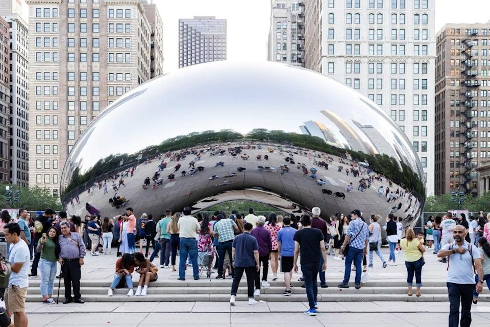 Kapoor's 'Cloud Gate' sculpture, which he describes as having 'indeterminate scale' (Reuters)