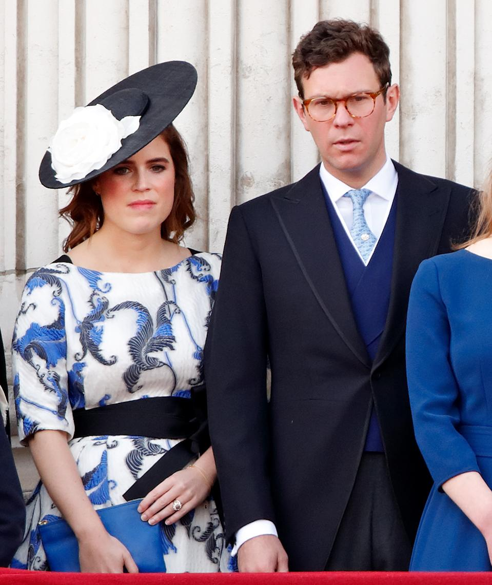 Princess Eugenie is joined by husband Jack Brooksbank on the balcony. (Getty Images)