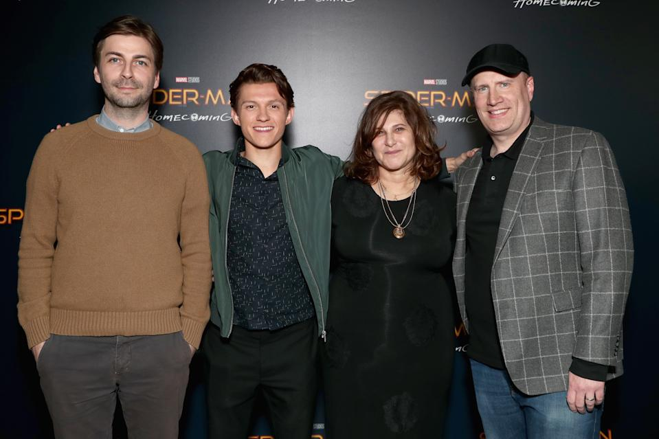 LAS VEGAS, NV - MARCH 27:  (L-R) Director Jon Watts, actor Tom Holland, producer Amy Pascal, and Marvel Studios President Kevin Feige at the CinemaCon 2017 Gala Opening Night Event: Sony Pictures Highlights its 2017 Summer and Beyond Films at The Colosseum at Caesars Palace during CinemaCon, the official convention of the National Association of Theatre Owners, on March 27, 2017 in Las Vegas, Nevada.  (Photo by Todd Williamson/Getty Images for CinemaCon)