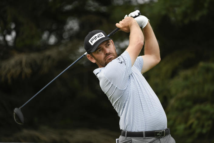 Louis Oosthuizen tees off on the second hole during the first round of the 3M Open golf tournament in Blaine, Minn., Thursday, July 22, 2021. (AP Photo/Craig Lassig)