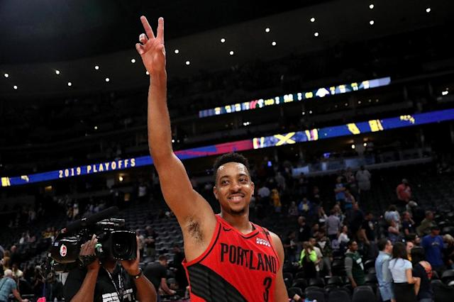 Portland's CJ McCollum celebrates after scoring 37 points in the Trail Blazers series-clinching 100-96 win over the Denver Nuggets (AFP Photo/MATTHEW STOCKMAN)