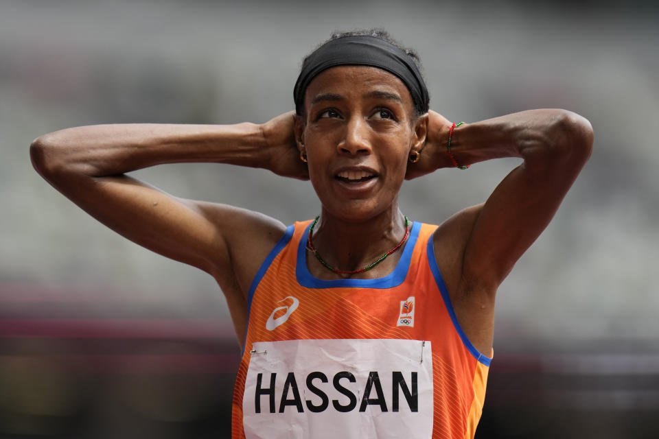 Sifan Hassan, of Netherlands, reacts after winning her heat of the women's 1,500-meters at the 2020 Summer Olympics, Monday, Aug. 2, 2021, in Tokyo. (AP Photo/Petr David Josek)