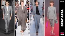 <p>Black is out and gray is in. Gray workwear from blazers to trousers and skirts thrived all over fashion week. (Photo: ImaxTree) </p>