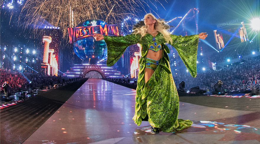 Charlotte Flair is seen at WrestleMania 33 in Orlando, Fla. (Photo credit: WWE)