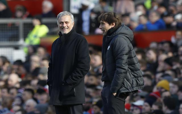 Antonio Conte and MJose Mourinho (left) seemed to get on just fine at Old Trafford