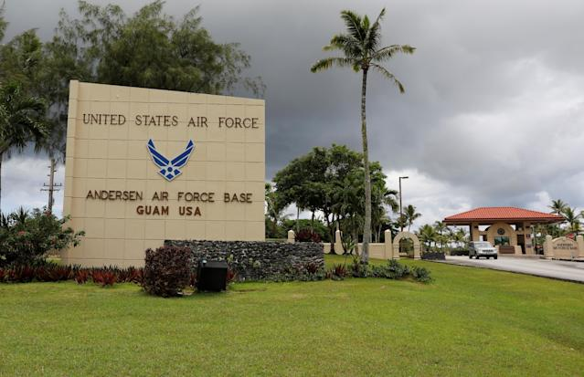 <p>A view of the entrance of U.S. military Andersen Air Force base on the island of Guam, a U.S. Pacific Territory, August 11, 2017. (Erik De Castro/Reuters) </p>