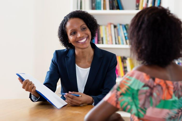 "<span class=""caption"">A friendly face.</span> <span class=""attribution""><a class=""link rapid-noclick-resp"" href=""https://www.shutterstock.com/image-photo/african-american-businesswoman-applicant-talking-about-1395240425"" rel=""nofollow noopener"" target=""_blank"" data-ylk=""slk:Shutterstock."">Shutterstock.</a></span>"