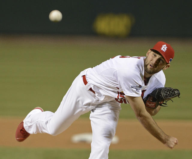 St. Louis Cardinals starting pitcher Michael Wacha throws during the first inning of Game 6 of the National League baseball championship series against the Los Angeles Dodgers, Friday, Oct. 18, 2013, in St. Louis. (AP Photo/David Klutho, Pool)