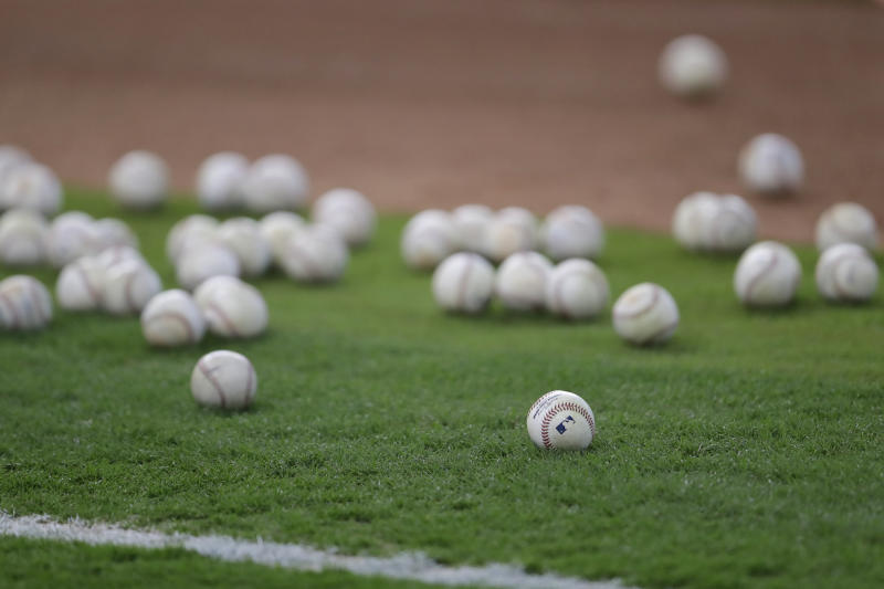 HOUSTON, TX - SEPTEMBER 16: A general view of baseballs on the turf during batting practice before the game between the Houston Astros and the Seattle Mariners at Minute Maid Park on September 16, 2017 in Houston, Texas. (Photo by Tim Warner/Getty Images)