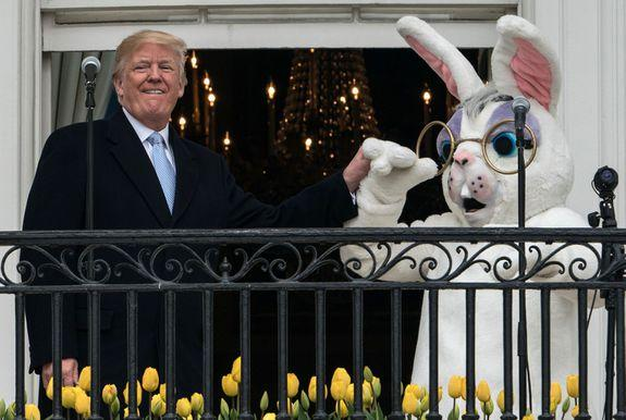 "<img alt=""""/><p>The White House hosted its annual Easter Egg Roll on Monday, which is a 139-year-old tradition where children run through the White House South Lawn pushing eggs with long spoons. There's also a terrifying giant Easter bunny involved.</p> <div><p>SEE ALSO: <a rel=""nofollow"" href=""https://mashable.com/2018/03/21/mike-pence-daughter-charlotte-bought-john-oliver-book-gay-bunny/?utm_campaign=Mash-BD-Synd-Yahoo-Watercooler-Full&utm_cid=Mash-BD-Synd-Yahoo-Watercooler-Full"">Mike Pence's daughter bought John Oliver's book about the VP's gay bunny</a></p></div> <p>It's a strange tradition. </p> <p>Trump tweeted this video of his speech on Monday, where this year's monstrous rabbit loomed behind him. </p> <div><div><blockquote> <p>An honor to host the Annual <a rel=""nofollow"" href=""https://twitter.com/WhiteHouse?ref_src=twsrc%5Etfw"">@WhiteHouse</a> Easter Egg Roll! <a rel=""nofollow"" href=""https://t.co/bOMJRK8FyK"">pic.twitter.com/bOMJRK8FyK</a></p> <p>— Donald J. Trump (@realDonaldTrump) <a rel=""nofollow"" href=""https://twitter.com/realDonaldTrump/status/980832496005844993?ref_src=twsrc%5Etfw"">April 2, 2018</a></p> </blockquote></div></div> <p>This year's horrifying Easter bunny wears purple eyeshadow, wire rimmed glasses, and a perpetually shocked expression. </p> <p><img title=""This year's bunny wears glasses."" alt=""This year's bunny wears glasses.""></p> <p>This year's bunny wears glasses.</p><div><p>Image:  NICHOLAS KAMM/Getty Images</p></div><p>The bunny's face could have something to do with the contents of Trump's speech, which delved into the increased military budget.</p> <div><div><blockquote> <p>""Our military is at a level where it has never been before….The funding of our military was so important and so many military people are with us here today. Just think of $700 billion because that is all going into our military this year,"" <a rel=""nofollow"" href=""https://twitter.com/POTUS?ref_src=twsrc%5Etfw"">@POTUS</a> tells crowd at White House <a rel=""nofollow"" href=""https://t.co/220fJuAJgJ"">pic.twitter.com/220fJuAJgJ</a></p> <p>— CBS News (@CBSNews) <a rel=""nofollow"" href=""https://twitter.com/CBSNews/status/980819731132420097?ref_src=twsrc%5Etfw"">April 2, 2018</a></p> </blockquote></div></div> <p>And as Dave Itzkoff pointed out, all the talk of violence was happening <em>right next to</em> our sweet holiday guardian. </p> <div><div><blockquote> <p><a rel=""nofollow"" href=""https://t.co/Kkfasvnkk8"">pic.twitter.com/Kkfasvnkk8</a></p> <p>— Dave Itzkoff (@ditzkoff) <a rel=""nofollow"" href=""https://twitter.com/ditzkoff/status/980820064743063552?ref_src=twsrc%5Etfw"">April 2, 2018</a></p> </blockquote></div></div> <p>Others couldn't help but wonder <em>who</em> was inside this year's bunny costume.</p> <div><div><blockquote> <p>Bolton. The stache is a tell.</p> <p>— J. Spider Hunter (@Spider_Hunter) <a rel=""nofollow"" href=""https://twitter.com/Spider_Hunter/status/980838719153418240?ref_src=twsrc%5Etfw"">April 2, 2018</a></p> </blockquote></div></div> <div><div><blockquote> <p>please let it be sessions</p> <p>— justin jacoby smith (@hoosteen) <a rel=""nofollow"" href=""https://twitter.com/hoosteen/status/980819729131737089?ref_src=twsrc%5Etfw"">April 2, 2018</a></p> </blockquote></div></div> <div><div><blockquote> <p>Hannity</p> <p>— Chris Keppler (@chris_keppler) <a rel=""nofollow"" href=""https://twitter.com/chris_keppler/status/980827019020853253?ref_src=twsrc%5Etfw"">April 2, 2018</a></p> </blockquote></div></div> <div><div><blockquote> <p>John Kelly</p> <p>— David Pollack (@DSPollack) <a rel=""nofollow"" href=""https://twitter.com/DSPollack/status/980835413794476032?ref_src=twsrc%5Etfw"">April 2, 2018</a></p> </blockquote></div></div> <p>But some wondered if the mystery bunny suit wearer was a former staffer trying to get back into the White House. </p> <div><div><blockquote> <p>The Mooch will do anything to get back there, won't he?</p> <p>— Jon Maas (@jondmaas) <a rel=""nofollow"" href=""https://twitter.com/jondmaas/status/980822638523072513?ref_src=twsrc%5Etfw"">April 2, 2018</a></p> </blockquote></div></div> <div><div><blockquote> <p>Steve Bannon</p> <p>— Jacques Lapin 🐰 (@MJacquesLapin) <a rel=""nofollow"" href=""https://twitter.com/MJacquesLapin/status/980839740097298432?ref_src=twsrc%5Etfw"">April 2, 2018</a></p> </blockquote></div></div> <p>There's a chance that a certain White House ex is hiding in that costume.</p> <div><div><blockquote> <p>Question is, is it Sean Spicer? <a rel=""nofollow"" href=""https://t.co/kFTGap6Nth"">https://t.co/kFTGap6Nth</a></p> <p>— Lisa Braun Dubbels (@lisadubbels) <a rel=""nofollow"" href=""https://twitter.com/lisadubbels/status/980839535801090048?ref_src=twsrc%5Etfw"">April 2, 2018</a></p> </blockquote></div></div> <div><div><blockquote> <p>The Easter bunny looks horrified. Cameo appearance by Sean Spicer?</p> <p>— Crowley Resists™❄️🌊 (@RogueEvildoer) <a rel=""nofollow"" href=""https://twitter.com/RogueEvildoer/status/980854539510276096?ref_src=twsrc%5Etfw"">April 2, 2018</a></p> </blockquote></div></div> <p>After all, Sean Spicer did don the bunny costume during the Bush administration. </p> <div><div><blockquote> <p>Sean Spicer's humble beginnings as the White House Easter Bunny <a rel=""nofollow"" href=""https://t.co/sczyX8QJVq"">pic.twitter.com/sczyX8QJVq</a></p> <p>— jordan (@JordanUhl) <a rel=""nofollow"" href=""https://twitter.com/JordanUhl/status/837676057893486592?ref_src=twsrc%5Etfw"">March 3, 2017</a></p> </blockquote></div></div> <p>And Twitter users were convinced that they had found the secret costume wearer. </p> <div><div><blockquote> <p>So great to see Sean Spicer back at the WH. <a rel=""nofollow"" href=""https://t.co/MRhoPb6xJ9"">https://t.co/MRhoPb6xJ9</a></p> <p>— Timothy Perry (@timpperry91) <a rel=""nofollow"" href=""https://twitter.com/timpperry91/status/980837920012734466?ref_src=twsrc%5Etfw"">April 2, 2018</a></p> </blockquote></div></div> <p>It wouldn't be too far fetched — Trump appears to be a head taller than the bunny. According to his first formal medical exam, he's 6 foot 3 inches tall. Sean Spicer's <a rel=""nofollow"" href=""http://www.imdb.com/name/nm6209025/bio"">IMBd</a> (yes, the former White House press secretary has an IMBd profile) lists him as 5 foot, 5 and-a-half inches tall. Given that the bulky costume adds a few inches, Spicer <em>could be</em> one in the rabbit suit. </p> <p>After all, when else would Spicer get the chance to hold hands with the president?</p> <p><img title=""The Easter bunny and the president hold hands."" alt=""The Easter bunny and the president hold hands.""></p> <p>The Easter bunny and the president hold hands.</p><div><p>Image:  NICHOLAS KAMM/Getty Images</p></div><p>Sadly, it appears it wasn't Spicer in the bunny costume, but there's always next year.</p> <div><div><blockquote> <p>New: White House tells me it was Commander Richard I. Lawlor, US Navy, who wore the bunny suit at the Easter Egg roll today.</p> <p>— Sarah Westwood (@sarahcwestwood) <a rel=""nofollow"" href=""https://twitter.com/sarahcwestwood/status/980898727455084544?ref_src=twsrc%5Etfw"">April 2, 2018</a></p> </blockquote></div></div> <div> <h2><a rel=""nofollow"" href=""https://mashable.com/2018/04/02/jeff-goldblum-jurassic-world-evolution/?utm_campaign=Mash-BD-Synd-Yahoo-Watercooler-Full&utm_cid=Mash-BD-Synd-Yahoo-Watercooler-Full"">WATCH: Jeff Goldblum is back in the amazing 'Jurassic World Evolution' video game</a></h2> <div> <p><img alt=""Https%3a%2f%2fblueprint api production.s3.amazonaws.com%2fuploads%2fvideo uploaders%2fdistribution thumb%2fimage%2f85378%2fc2d3acf8 cc7b 4f6f b76c 226dc1fea3d9""></p>   </div> </div>"