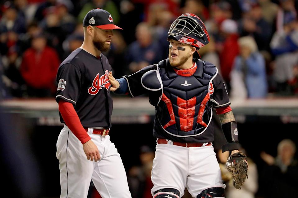 Roberto Perez has helped guide the Indians' pitching staff through the postseason. (Getty)