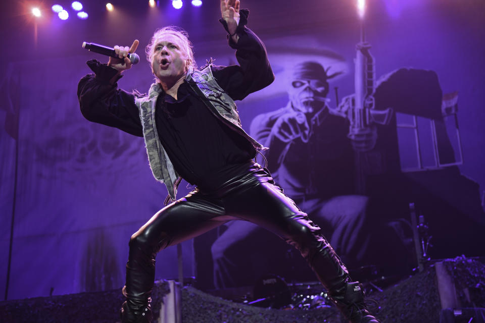 SUNRISE, FL- JULY 18: Bruce Dickinson and Iron Maiden opened their U.S. Tour at the BB&T Center in Sunrise, Florida, July 18, 2019. (Photo by Ron Elkman/USA TODAY NETWORK/Sipa USA)