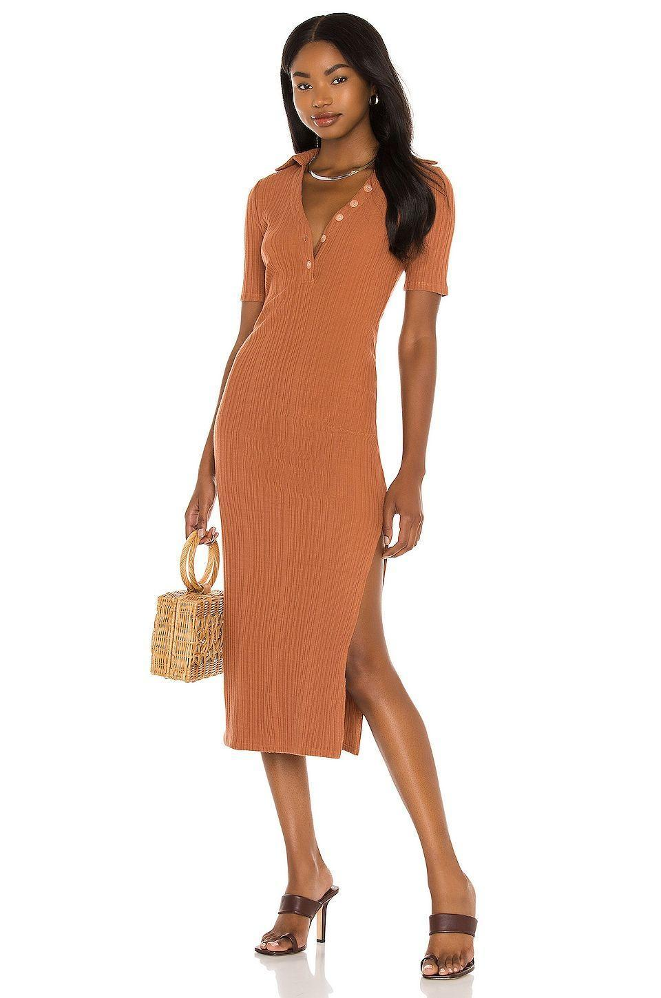 """<p><strong>House of Harlow 1960</strong></p><p>revolve.com</p><p><strong>$168.00</strong></p><p><a href=""""https://go.redirectingat.com?id=74968X1596630&url=https%3A%2F%2Fwww.revolve.com%2Fdp%2FHOOF-WD753%2F&sref=https%3A%2F%2Fwww.goodhousekeeping.com%2Fclothing%2Fg27816744%2Fbest-fall-dresses%2F"""" rel=""""nofollow noopener"""" target=""""_blank"""" data-ylk=""""slk:Shop Now"""" class=""""link rapid-noclick-resp"""">Shop Now</a></p><p>The ribbed jersey fabric allows for stretch, while the neckline can be adjusted to your coverage perference. It's perfect for a night out or, if you dress it up, can work for a fall wedding. </p>"""