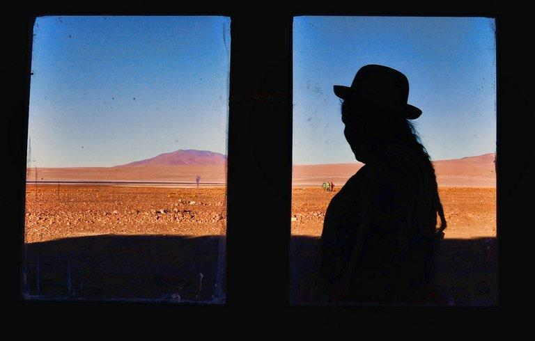 A Bolivian native is seen outside a hotel in the Salar de Uyuni, on October 7, 2009