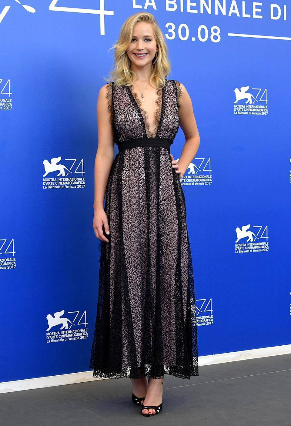 Lawrence rocked Giambattista Valli in Venice, Italy, on Sept. 5. (Photo by Dominique Charriau/WireImage)
