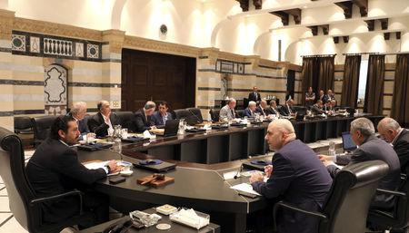 Lebanon's Prime Minister Saad al-Hariri holds a cabinet meeting at the governmental palace in Beirut