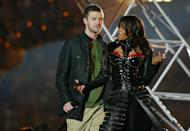 "<p>Some other things probably happened at the 2004 Super Bowl, but the only thing they'll be writing about in the history books is that infamous halftime show. When Justin Timberlake ripped off a piece of Janet Jackson's bustier, her bare breast — albeit adorned with a nipple shield — was shown to the entire world. The NFL and the FCC were real mad (540,000 people <a href=""http://www.rollingstone.com/culture/news/nipple-ripples-10-years-of-fallout-from-janet-jacksons-halftime-show-20140130"" rel=""nofollow noopener"" target=""_blank"" data-ylk=""slk:filed complaints"" class=""link rapid-noclick-resp"">filed complaints</a>), and <a href=""https://web.archive.org/web/20040203025228/http:/customwire.ap.org/dynamic/stories/S/SUPER_BOWL_JACKSON?SITE=MAHYC&SECTION=BUSINESS&TEMPLATE=DEFAULT"" rel=""nofollow noopener"" target=""_blank"" data-ylk=""slk:it ignited"" class=""link rapid-noclick-resp"">it ignited</a> a national conversation about the supposed end of morality in America. Janet's career never entirely recovered—while JT, who failed to come to Jackson's defense, got off scot-free—but the scandal did gift us with the now-commonplace term of ""wardrobe malfunction.""</p>"
