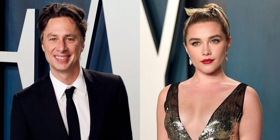 "<p>This couple, who shares a 21-year age difference, <a href=""https://www.elle.com/culture/celebrities/a30770495/florence-pugh-zach-braff-relationship-timeline/"" rel=""nofollow noopener"" target=""_blank"" data-ylk=""slk:reportedly met"" class=""link rapid-noclick-resp"">reportedly met</a> while working on the 2019 short film he directed, <em>In The Time It Takes to Get There.</em> Although they'll occasionally comment on each other's Instagram posts, they've never walked a red carpet together. They didn't even <a href=""https://www.elle.com/culture/celebrities/a32056072/florence-pugh-zach-braff-instagram-official-birthday/"" rel=""nofollow noopener"" target=""_blank"" data-ylk=""slk:make it IG official"" class=""link rapid-noclick-resp"">make it IG official</a> until April 2020. Pugh later disabled comments on the post and <a href=""https://www.elle.com/culture/celebrities/a32093841/florence-pugh-zach-braff-age-gap-defense/"" rel=""nofollow noopener"" target=""_blank"" data-ylk=""slk:defended her relationship"" class=""link rapid-noclick-resp"">defended her relationship</a> against negative opinions. ""I am 24 years old. I do not need you to tell me who I should and should not love,"" she said in a separate <a href=""https://www.instagram.com/p/B-vBzJ6FyoU/"" rel=""nofollow noopener"" target=""_blank"" data-ylk=""slk:post"" class=""link rapid-noclick-resp"">post</a> addressing the situation.</p>"