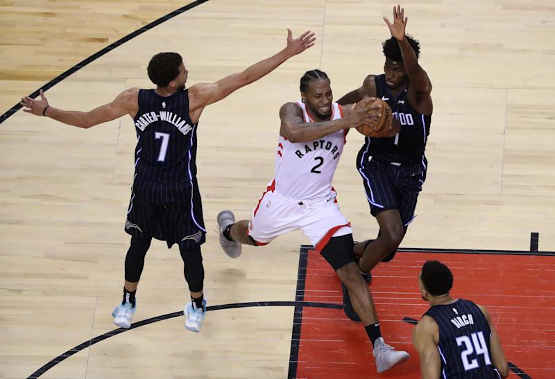 Raptors forward Kawhi Leonard ran through the Magic on Tuesday night in Game 2. (Getty Images)
