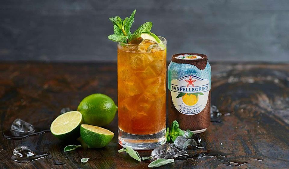 """<p><strong>Ingredients:</strong></p><p>1 oz/3 cl sage and mint syrup<br>¾ oz/2.5 cl lime juice<br>Top up with Sanpellegrino Chinotto </p><p><strong>Directions:</strong></p><p>Fill a large, sturdy glass (40 cl capacity) with all the syrup and juice. Stir gently with a bar spoon to combine well. Fill glass with ice and top up with Sanpellegrino Chinotto. Garnish with a lime segment and fresh mint.<br></p><p><em>Courtesy of <a href=""""https://www.sanpellegrinofruitbeverages.com/intl/citrus/drinks/green-chinotto"""" rel=""""nofollow noopener"""" target=""""_blank"""" data-ylk=""""slk:Sanpellegrino Fruit Beverages"""" class=""""link rapid-noclick-resp"""">Sanpellegrino Fruit Beverages</a>.</em></p>"""