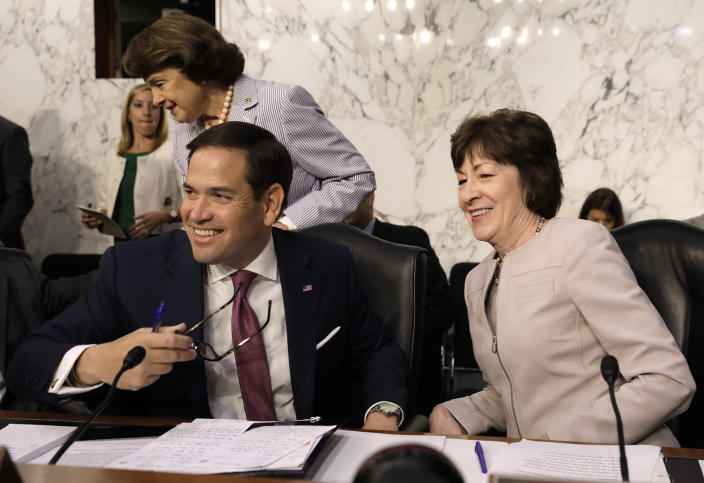 <p>Senators Marco Rubio, Susan Collins and Dianne Feinstein (rear) arrive for former FBI Director James Comey's appearance before a Senate Intelligence Committee hearing on Russia's alleged interference in the 2016 U.S. presidential election on Capitol Hill in Washington, June 8, 2017. (Photo: Jim Bourg/Reuters) </p>