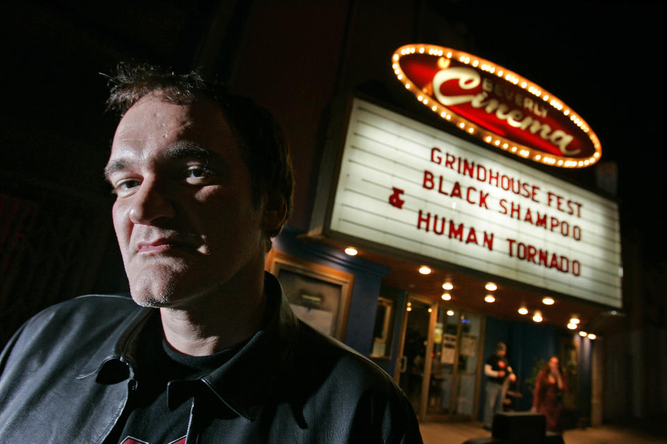 "Motion Picture director Quentin Tarantino is photographed at the New Beverly Theater in West Los Angeles where he is curating a two month showing of ""Grindhouse"" genre movies, Tuesday, February 17, 2007.  (Photo by Robert Gauthier/Los Angeles Times via Getty Images)"