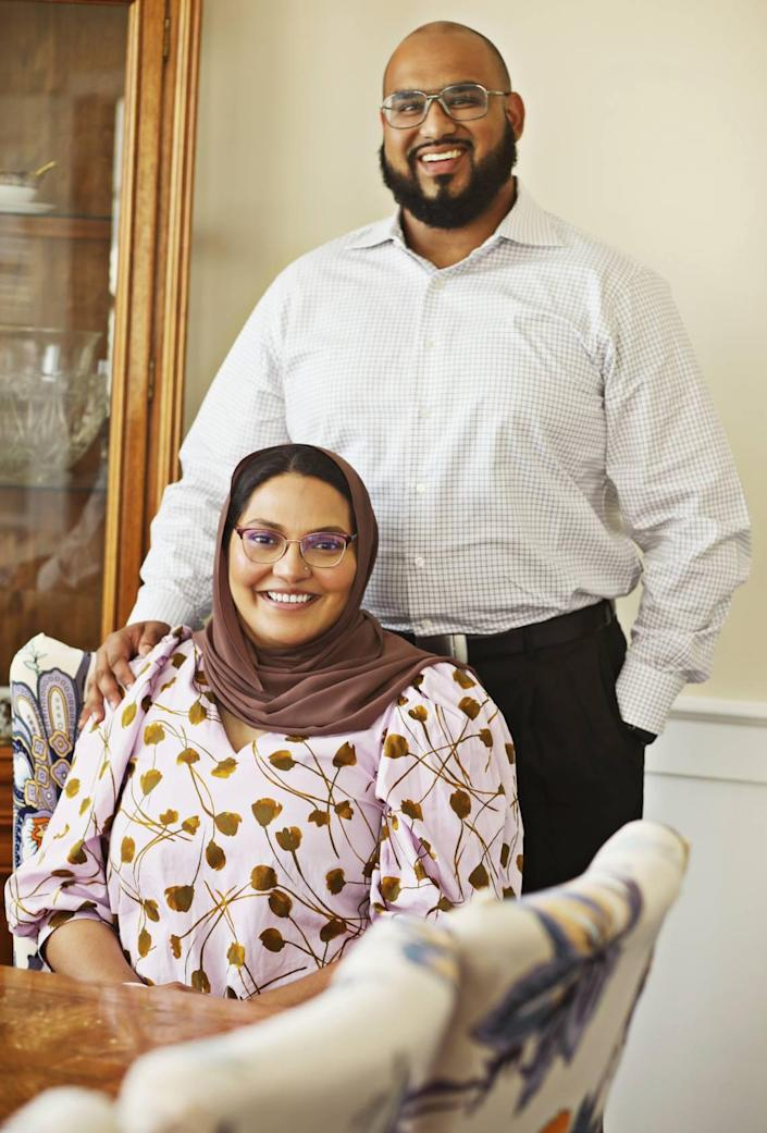 Durham commissioner Nida Allam with her husband, Towqir Aziz, at their Durham home on Friday, Aug. 27, 2021. Allam is sharing her personal story about a recent miscarriage to bring about more awareness and support.