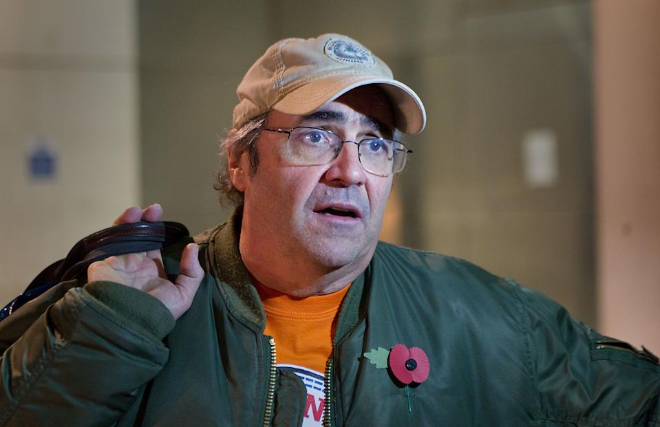 Danny Baker talking outside BBC Broadcasting House in London after his BBC London programme was axed.   (Photo by Philip Toscano/PA Images via Getty Images)
