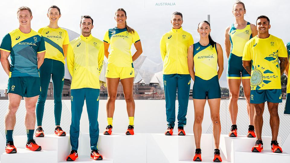 Athletes, pictured here posing form the Australian Olympic Team Tokyo 2020 uniform unveiling.