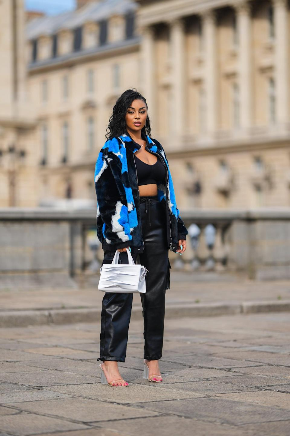 <p>Take on the cargo trend with a luxe leather pair, then top it off with a crop top and a printed jacket for a dressier approach. </p>