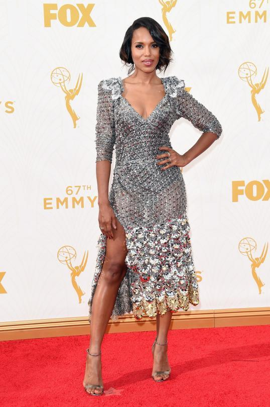 <p>Just days after hitting the runway, the dress Binx Walton wore at the Ziegfeld theater show became Kerry Washington's red carpet look for the 2015 Emmys. A mix of many metals, the gold and silver mesh and sequin mid-calf hemline hitting piece was on point. </p>