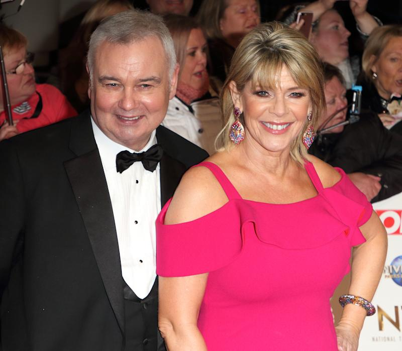 Eamonn Holmes and Ruth Langsford attend the National Television Awards 2020 at The O2 Arena in London. (Photo by Keith Mayhew / SOPA Images/Sipa USA)