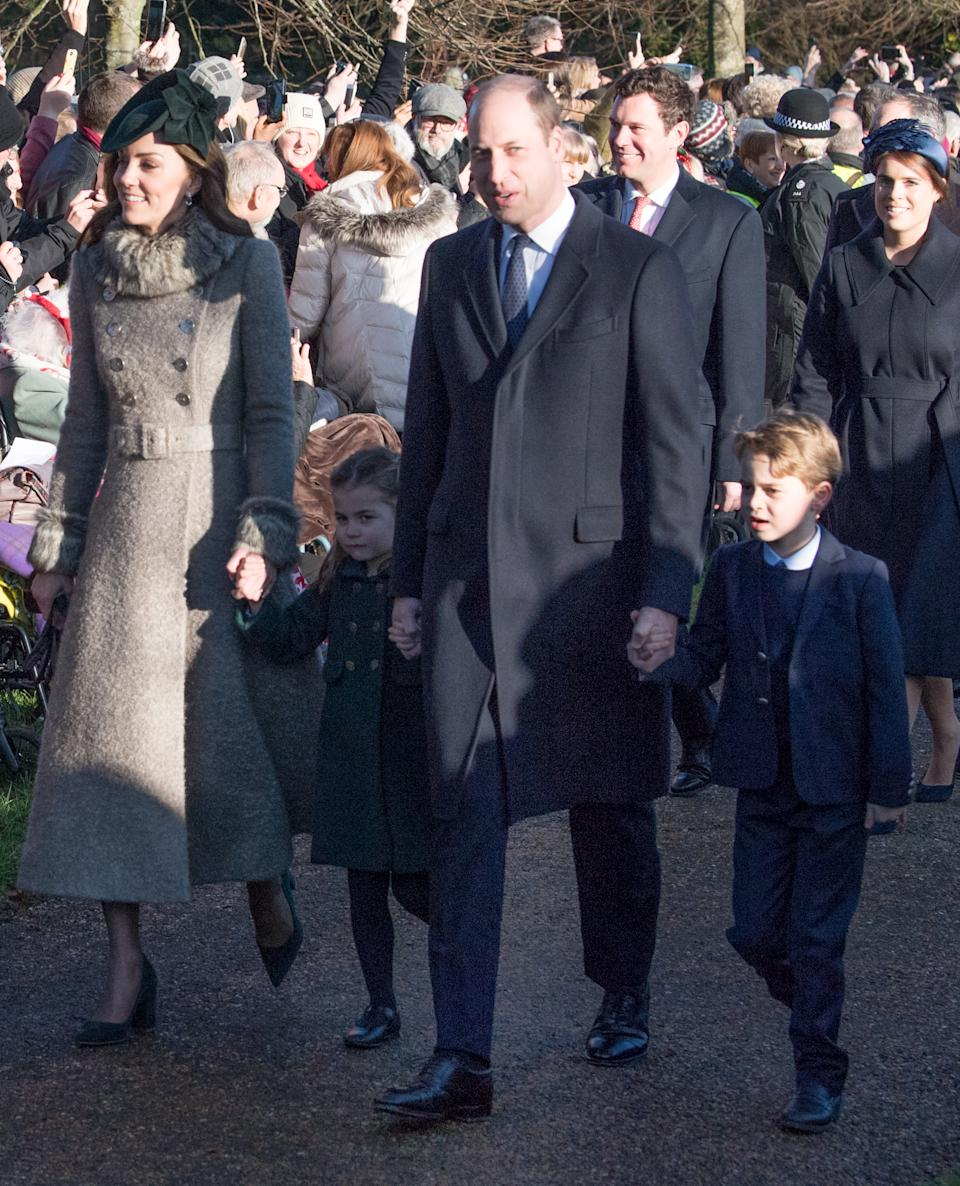 <p>2019 was the first appearance of George and Charlotte at the church in Sandringham on Christmas morning - a royal tradition. (Samir Hussein/WireImage)</p>
