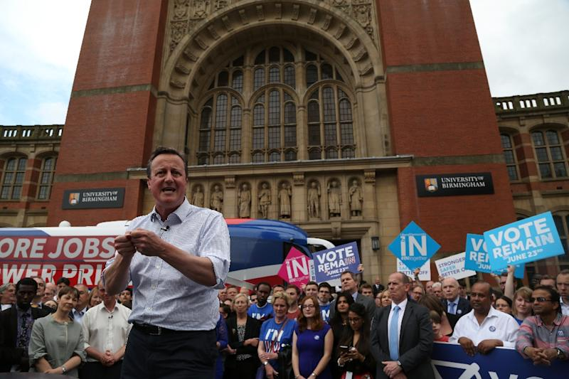 Britain's Prime Minister David Cameron delivers a speech at a Britain Stronger In Europe event campaigning for people to vote to remain in the EU in Birmingham, central England, on June 22, 2016