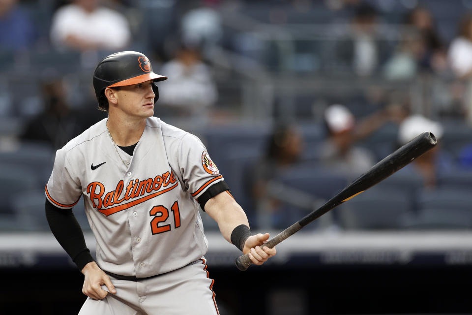 NEW YORK, NY - AUGUST 4: Austin Hays #21 of the Baltimore Orioles at bat against the New York Yankees during the first inning at Yankee Stadium on August 4, 2021 in New York City. (Photo by Adam Hunger/Getty Images)