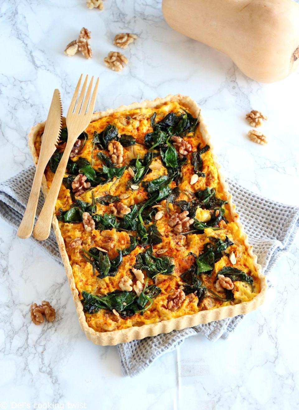 """<p>It's a combination we rarely see, but when we <em>do</em> see it, we're head-over-heels: pumpkin and goat cheese! This impressive dish is a great option for any <a href=""""https://www.countryliving.com/food-drinks/g1557/christmas-brunch-menu/"""" rel=""""nofollow noopener"""" target=""""_blank"""" data-ylk=""""slk:holiday brunch"""" class=""""link rapid-noclick-resp"""">holiday brunch</a>.</p><p><strong>Get the recipe at <a href=""""https://www.delscookingtwist.com/pumpkin-spinach-and-goat-cheese-quiche/"""" rel=""""nofollow noopener"""" target=""""_blank"""" data-ylk=""""slk:Del's Cooking Twist"""" class=""""link rapid-noclick-resp"""">Del's Cooking Twist</a>.</strong></p><p><strong><a class=""""link rapid-noclick-resp"""" href=""""https://www.amazon.com/Good-Cook-Inch-Biscuit-Brownie/dp/B0026RHHYC/?tag=syn-yahoo-20&ascsubtag=%5Bartid%7C10050.g.619%5Bsrc%7Cyahoo-us"""" rel=""""nofollow noopener"""" target=""""_blank"""" data-ylk=""""slk:SHOP BAKING DISHES"""">SHOP BAKING DISHES</a><br></strong></p>"""