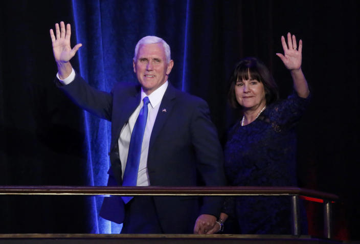 <p>U.S. Republican vice presidential nominee Mike Pence and his wife Karen Pence arrive at U.S. Republican presidential nominee Donald Trump's election night rally in Manhattan, New York, Nov. 8, 2016. (Photo: Carlo Allegri/Reuters) </p>