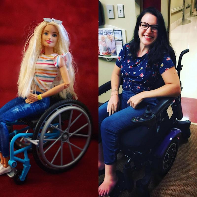 Wheelchair Barbie and Mollie strike matching poses.