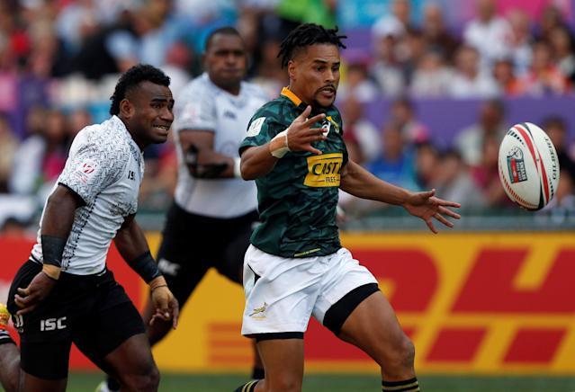 Rugby Union - Fiji v South Africa - World Rugby Sevens Series - Hong Kong Stadium, Hong Kong, China - April 8, 2018 - South Africa's Selvyn Davids runs after the ball. REUTERS/Bobby Yip