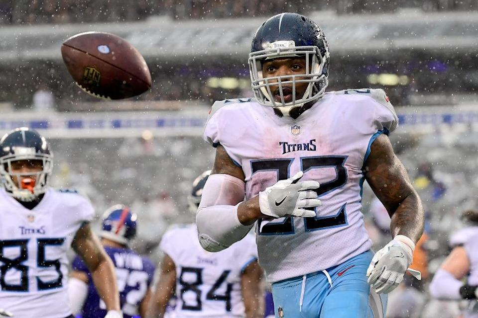"""<a class=""""link rapid-noclick-resp"""" href=""""/nfl/players/29279/"""" data-ylk=""""slk:Derrick Henry"""">Derrick Henry</a> apparently decided that one explosive performance wasn't enough for him. (Photo by Steven Ryan/Getty Images)"""