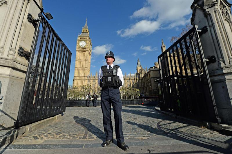 A new set of security gates which have been installed at the Carriage Gates entrance to the Houses of Parliament: PA